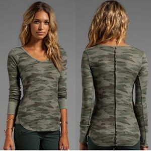 Free people | waffle knit V neck thermal top camo